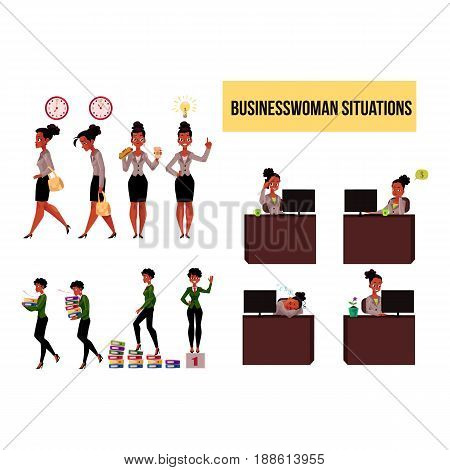 Big set of young black, African American businesswoman in business situations, cartoon vector illustration isolated on white background. Black, African businesswoman, work day, office, career ladder