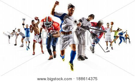 Huge multi sports collage karate volleyball running athletics dirt bike gymnastics mortul arts in action isolated on white
