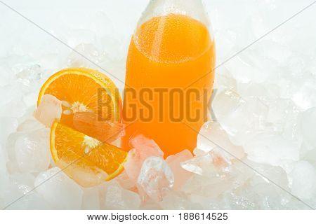 The Bottle Of Orange Juice On Ice