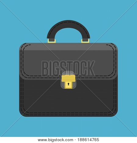 Black briefcase of businessman isolated on blue background. Flat design. Vector illustration. EPS 8 no transparency
