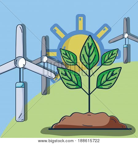windpower with plant in the mountain and sun, vector illustration