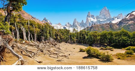 Beautiful landscape with Mt Fitz Roy in Los Glaciares National Park Patagonia Argentina South America