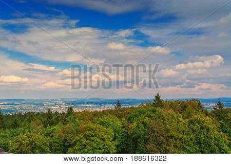 Panoramic view from Hermannsdenkmal to the Teutoburg Forest near Detmold North Rhine-Westphalia.