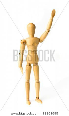 Wooden figure saluting isolated on white