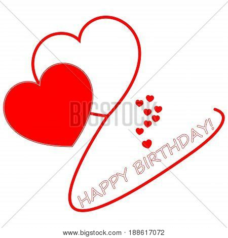 Happy Birthday card with red hearts - illustration