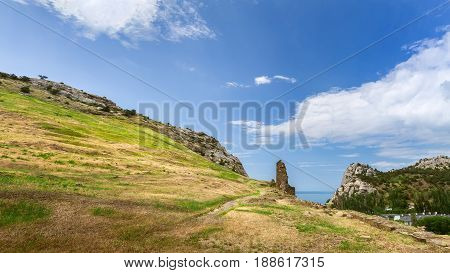 trail near mountain peaks / bright summer landscape travel Crimea