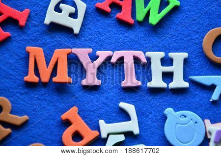 word myth on a  abstract colorful background