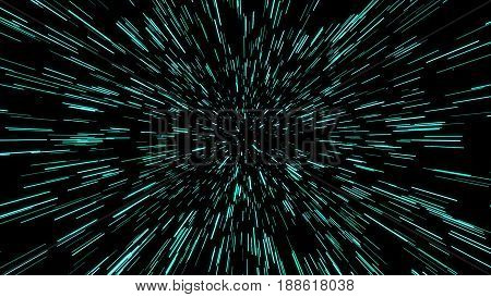 Abstract Of Warp Or Hyperspace Motion In Blue Star Trail. Exploding And Expanding Movement. Illustra