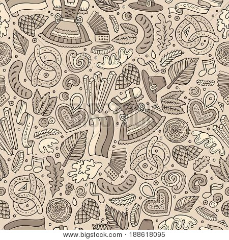 Cartoon cute hand drawn Beer fest seamless pattern. Line art with lots of objects background. Endless funny vector illustration