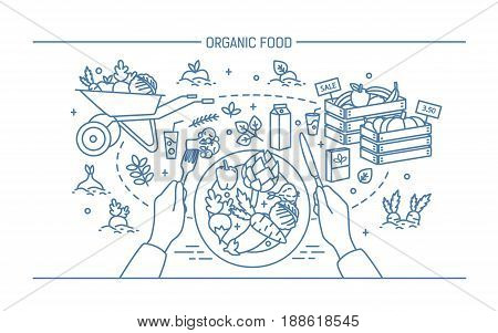 Horizontal banner with organic food. Composition with vegetables on plate, different fresh products, greenery, fruit, drinks. Monochrome vector illustration in lineart style