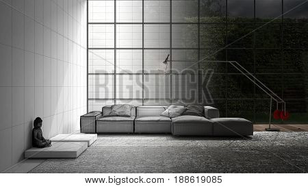Unfinished project of modern living with sofa carpet and big window sketch abstract interior design, 3d illustration