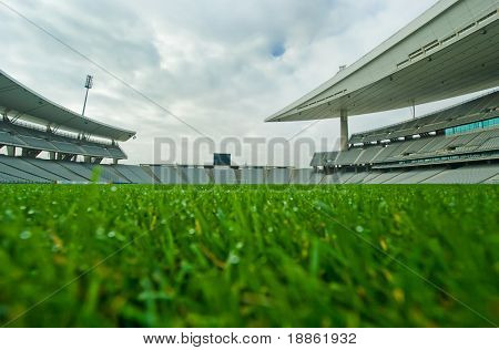 A Big Stadium Shot From Ground Level On The Playing Field