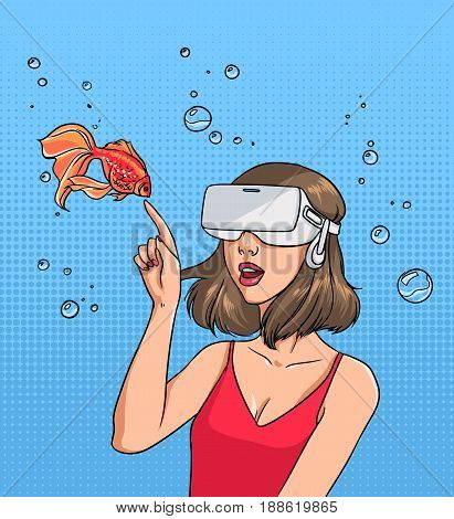 Concept of virtual reality. Girl in 3d-glasses and goldfish. Colorful comics vector illustration in pop art style