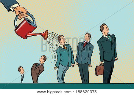 Business incubator, startup. Hand watering businessmen from a watering can. Pop art retro vector illustration