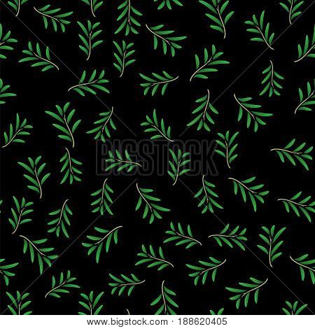 Summer Floral Texture Isolated on Black Background. Seamless Random Leaves Pattern