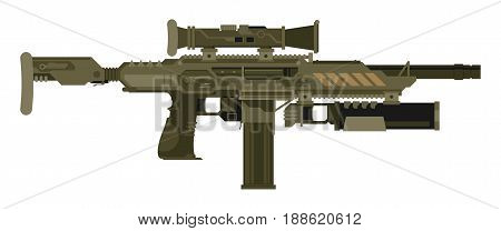 Futuristic Sci-Fi weapon isolated. Vector illustration flat