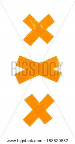 Cross made of two pieces of insulating tape isolated over the white background, set of three different foreshortenings