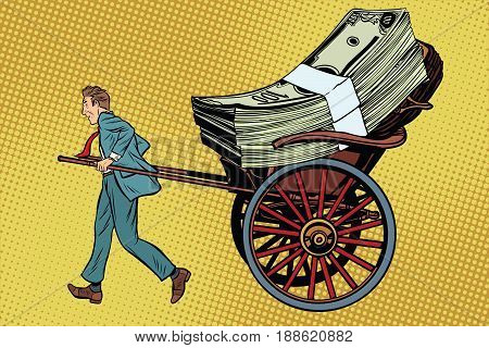 Businessman rickshaw transports money. Business and Finance. Pop art retro vector illustration