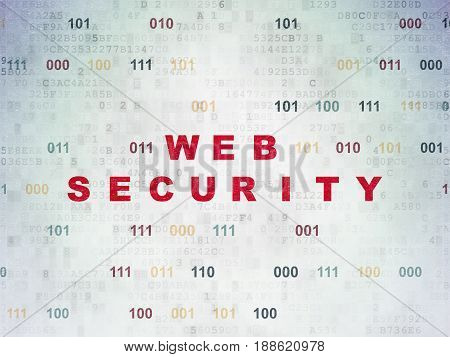 Web design concept: Painted red text Web Security on Digital Data Paper background with Binary Code