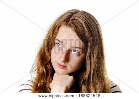 Young Teenage Girl Closeup Portrait With Different Emotions