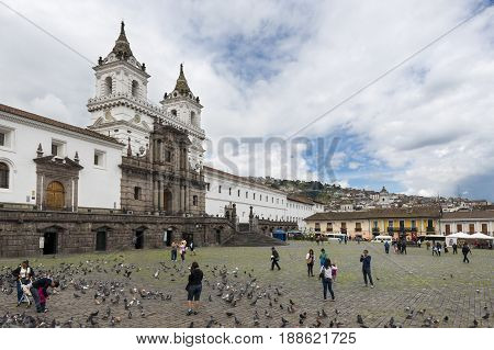 Quito Ecuador - January 29 2014: View of the Plaza and Church of San Francisco in the city of Quito Ecuador