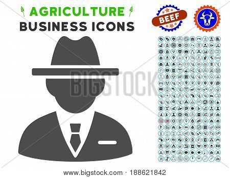 Agent gray icon with agriculture commercial glyph kit. Vector illustration style is a flat iconic symbol. Agriculture icons are rounded with blue circles. Designed for web and software interfaces.