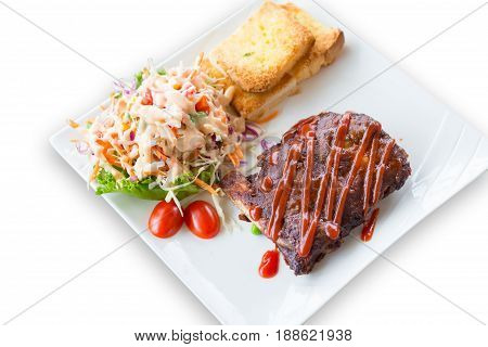 Pork barbecue ribs with barbecue sauce isolated on white background(clipping path)