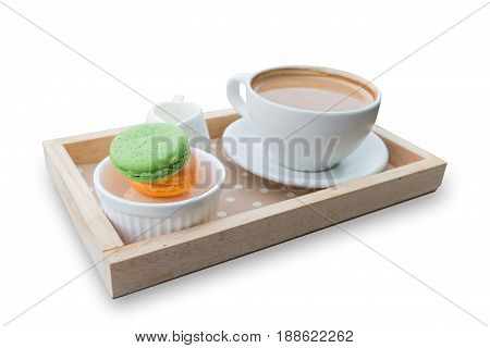 hot coffee breakfast set with fresh macaroon isolated in white background