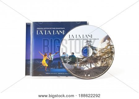 YATELEY, UK - FEBRUARY 6: Soundtrack CD and artwork from multi Acadamy Award winning movie La La Land. The film starred Emma Stone and Ryan Gosling with music by Justin Hurwitz and lyrics by Benj Pasek and Justin Paul. Yateley, UK - February 6, 2017