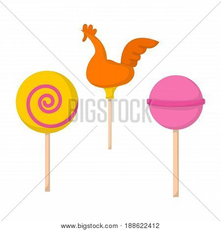 Vector illustration with cartoon colorful lollipops isolated on white background. Cartoon sweet sugar food icon. Spiral round lollipop. Childhood caramel. Unhealthy sweet eating