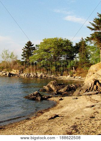 Attractive rocky shore on a Maine Island in Casco Bay.