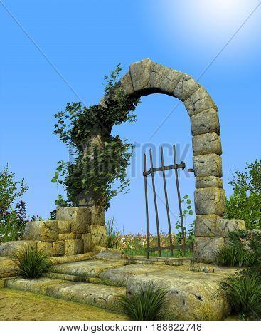 3D illustration of enchanted gate arch leading into a secret romantic garden.