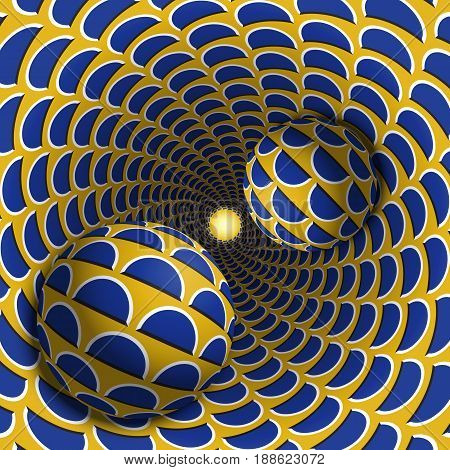 Optical illusion illustration. Two balls are moving in mottled hole. Blue crescent on yellow pattern objects. Abstract fantasy in a surreal style.