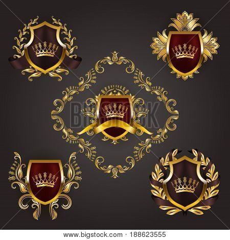 Set of golden royal shields with floral elements, ribbons, laurel wreaths for page, web design. Old frame, border, crown, divider in vintage style for label, emblem, badge, logo. Illustration EPS10