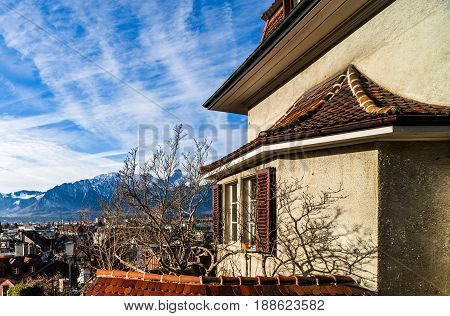 Beautiful Overview To The City Thun From The High Point, Blue Sky And Snowy Alps, Switzerland