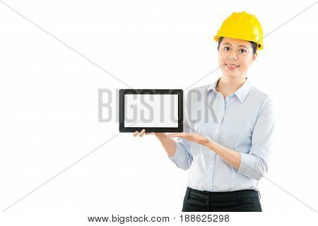 Woman Foreman Showing Pad Computer