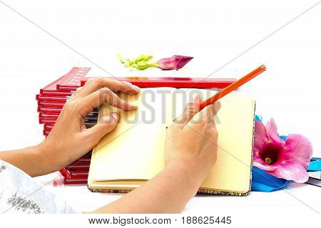 woman hand holding pencil writting on book