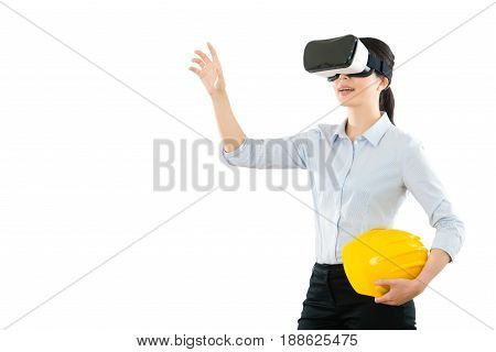 Female Inspector With Vr Headset Device
