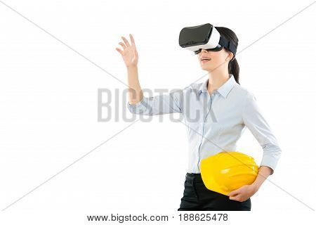 Model Wearing Vr Device Viewing Construction
