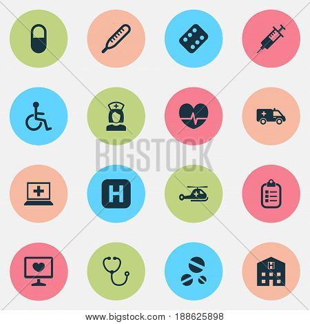 Antibiotic Icons Set. Collection Of Cure, Nanny, First-Aid And Other Elements. Also Includes Symbols Such As Healthy, Mark, Diagnostics.