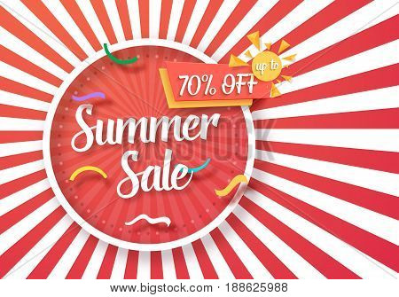 Illustration of Summer Sale Vector Poster with Sunburs Lines on Background. Bright Sale Flyer Template