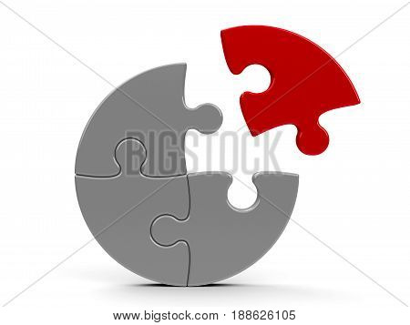 Abstract puzzle isolated on a white background - team cooperation concept three-dimensional rendering 3D illustration