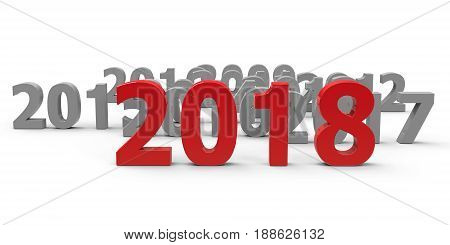 2018 come represents the new year 2018 three-dimensional rendering 3D illustration