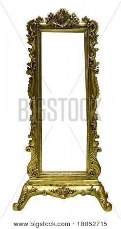 Antique wooden mirror frame isolated on white