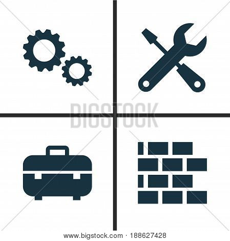 Construction Icons Set. Collection Of Equipment, Wall, Cogwheel And Other Elements. Also Includes Symbols Such As Cogwheel, Toolbox, Equipment.