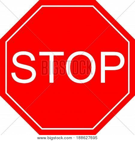 A red octagonal stop sign STOP prohibits various activities