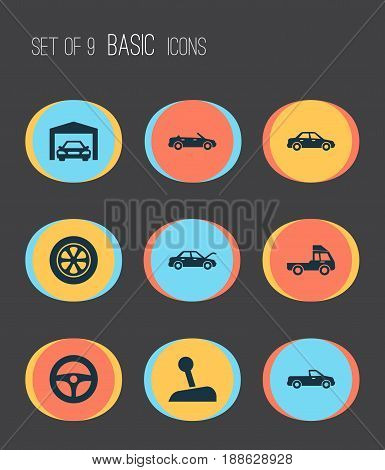 Auto Icons Set. Collection Of Repairing, Stick, Fixing And Other Elements. Also Includes Symbols Such As Convertible, Car, Van.