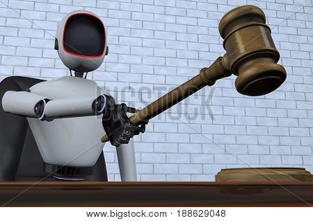 A robot judge of the future (3d rendering)