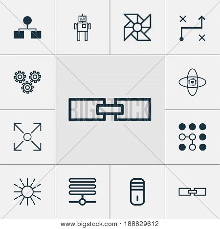 Machine Learning Icons Set. Collection Of Mainframe, Mechanism Parts, Information Base And Other Elements. Also Includes Symbols Such As Data, Computer, Shine.