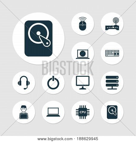 Device Icons Set. Collection Of Web, Laptop, Earphone And Other Elements. Also Includes Symbols Such As Cpu, Microphone, Mouse.
